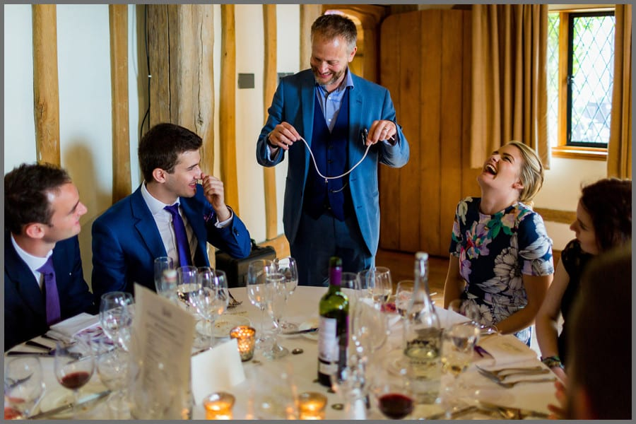 Christmas Party Magician Performing Table Magic performed at a Lunchtime Corporate Event.