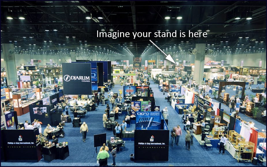 A busy trade show that could benefit from a trade show magician